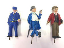 G scale cast white metal figures of three unusual people