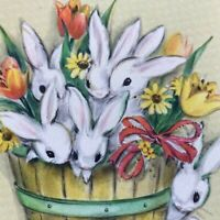 Vintage Mid Century Easter Greeting Card Cute Bunnies In A Wood Barrel Hallmark