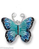 Zarah Zarlite BLUE MORPHO Butterfly CHARM Sterling SILVER PLATED Enamel - boxed