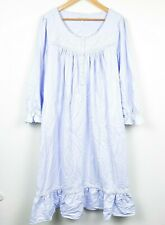 Eileen West Periwinkle Embroidered Light Blue Flannel Nightgown Women Size Large
