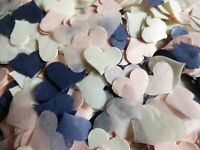 Blush, Ivory, Navy Wedding Confetti Party Hearts  Biodegradable FILL CONES