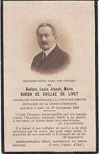1932 Memento du Baron Gaëtan-Louis-Joseph-Marie de CHILLAZ de LIVET.