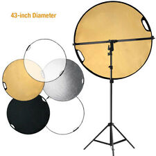 """43"""" 5-in-1 Collapible Reflector Disc Panel Disc Holder Boom Stand & Arm Bar Kit"""