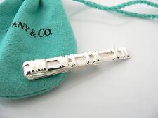 Tiffany & Co Silver Atlas Roman Numeral Tie Money Clip Rare Classic Pouch