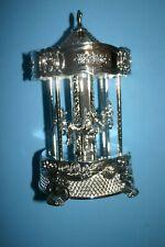 BEAUTIFUL WALLACE SILVERPLATED WINDUP CAROUSEL MUSIC BOX WITH ORIGINAL BOX