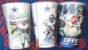 Lot of 3 NFL Dallas Cowboys 3-D Souvenir Signed Cups.  Elliot ,prescott, beasley