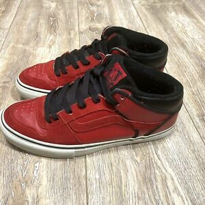 Vans TNT Mens Red Leather & Suede Skate Shoes Size 9