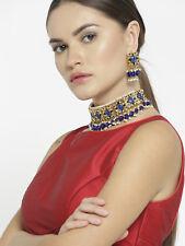 Indian Bollywood Partywear Blue Pearl Choker Necklace Earring Set Jewelry Diwali