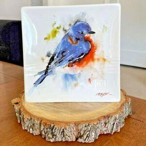 "Dean Crouser Big Sky Carvers Watercolor Bluebird Stoneware Snack Plate - 7"""