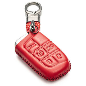 Vitodeco 5 Buttons Leather Smart Key Fob Case Protector for Dodge,Jeep,Chrysler