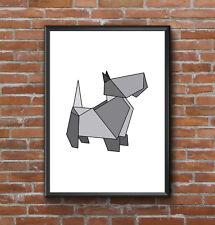 Estilo geométrico origami moderno Terrier Escocés Perro Mascota Impresión Pared Arte Cartel