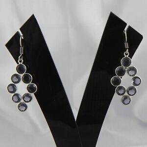 925 Sterling Silver Amethyst Handmade Earrings Xmas Gift Women ES-1231