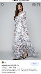 Bebe Jayada Chiffon Maxi Dress New With Tags $179