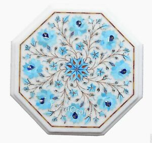 Turquoise Stone Inlaid Work Coffee Table Top White Marble End Table 13 Inches