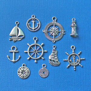 Nautical Charm Collection Antique Silver Tone 10 Different Charms - COL034