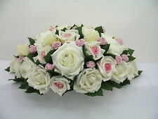 Wedding Top Table Arrangement, Artificial Flowers Ivory Pink Roses, Centerpiece