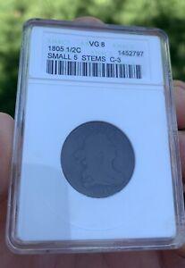 1805 Draped Bust Half Cent, Small 5 W/ Stems C-3, ANACS 8,  PCGS / NGC Upgrade?