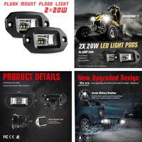 Waterproof Offroad Motorcycle Flood Work Light Flush Mount LED Pods 20W 2PCS