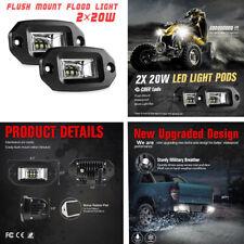 Imperméable Offroad Moto Flood Work Light Flush Mount DEL Pods 20 W 2PCS