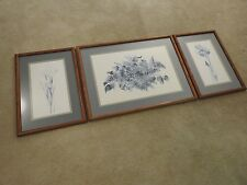 3 Lyn Snow Blue Lilacs And Irises Giclee Prints Limited Edition Signed Framed