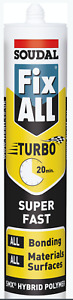 12 x Soudal White Fix All Turbo Silicone Super-Fast Adhesive SMX Sealant