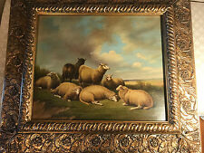 """Huge R Georges """"Flock Of Sheep Resting Scene"""" Oil Painting - Signed And Framed"""