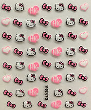 Nail Art 3D Decal Stickers Giltter Hello Kitty Hearts Bows HK XF182