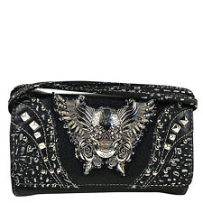 BLACK RHINESTONE STUDDED SKULL WITH WINGS LOOK CLUTCH TRIFOLD WALLET WESTERN
