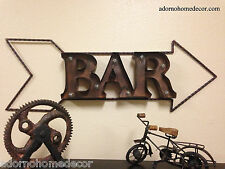 Lighted Marquee Rustic Metal Bar Sign Wall Decor Arrow Industrial Recycled Art