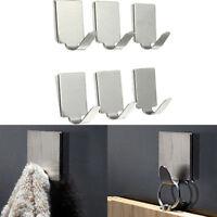 6Pcs Stainless Steel Self Adhesive Stick Wall Hook Hanger Bathroom Kitchen Door