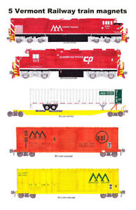 Vermont Railway Clarendon & Pitts. locomotives and train 5 magnets Andy Fletcher