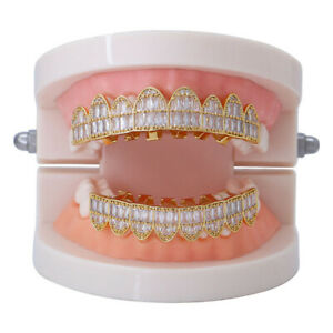 Custom Fit Hip Hop Grills Flat 8 Top 8 Bottom Set Full ICED AAA+ CZ Teeth Grillz