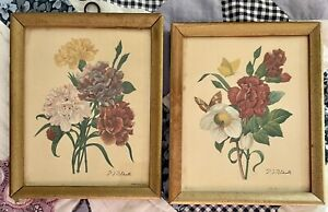 "2 Small Vintage Framed Floral Flower Art LITHO USA Print Picture Art 4.5"" x 5.5"""
