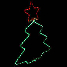 LED Rope Light In/Outdoor Star Christmas Tree Shape Decorative Party Red&Green