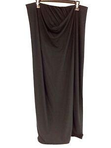NEW Women's Tahari Black Stretch Draped Maxi Slit Skirt M596A304