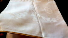 "Lovely Vintage Bows & Swag 6 Ft Irish Linen Damask Tablecloth 70"" x 72"""