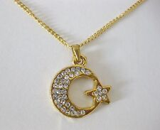 """NEW TURKISH MOON & STAR NECKLACE ON 18"""" GOLD CHAIN WITH DIAMANTE STONES."""