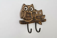 Wooden 2 Metal Iron Hooks Hand carved Owl Double Wall Coat Towel Kitchen Rustic