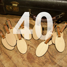 40 Custom Made Wooden Oval Personalized Luggage ID Tag with Your Name & Address