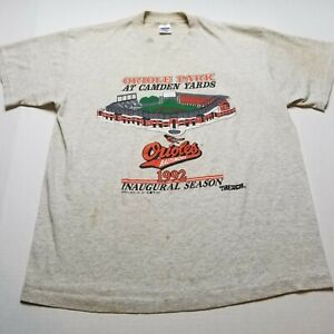 Vtg 1992 Baltimore Orioles Trench T-Shirt Mens XL Camden Yards Stain USA 90s H35