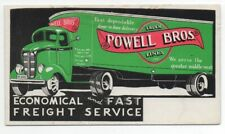1940s Advertising Blotter for Powell Bros Truck Lines with Truck Graphics