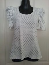 SIZE 8 WOMEN'S WHITE WITH BLACK POLKA DOT SHORT SLEEVE 'FACE OFF'  TOP