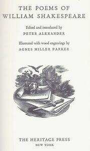 The Poems of William Shakespeare Heritage Press Illus Agnes Miller Parker Slipca