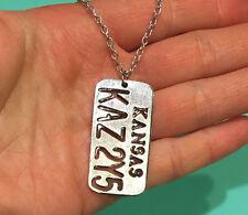 "KAZ Supernatural Hand stamped License Plate Necklace 20"" length USA"