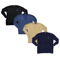 Polo Ralph Lauren Womens Pima Sweater Cable Knit V-neck Split Hem Pony Logo New