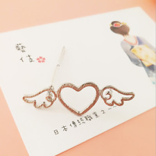 Girl Metal Angle Wing Love Heart Barrette Clips Side Hairpins Hair Accessories