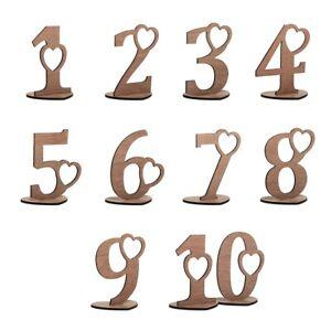 Hochzeit Tischnummern Okoume Holz Party Dekoration Herzen Set 1-10, 20 oder 30