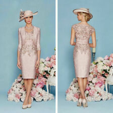 Mother of the Bride Dresses Nude Pink with Outfit 3/4 Sleeve Knee Length Custom