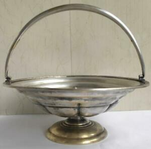 Rare Antique Imperial Russian Bronze Silver-Plated Hand Etched Fruit Bowl Fraget