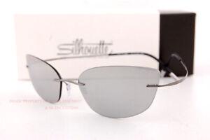 New Silhouette Sunglasses TMA 20 Years 8167 6660 Cat Eye Silver Mirror For Women